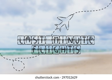 holiday and travel industry: departure board with writing Last Minute Flights, with airplane flying