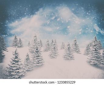 Holiday winter landscape vintage snow background. 3d illustration