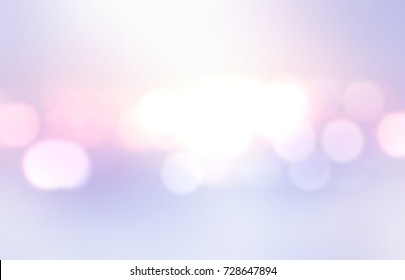Holiday wonderful subtle lilac bokeh background. Bright lights abstract pattern. Lens flare. Shiny festive illustration for New year design.