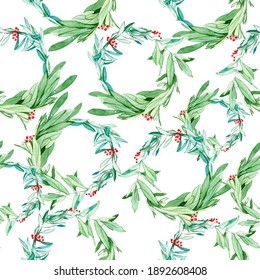 Holiday wreath watercolor illustration pattern