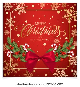 Holiday's Background for Merry Christmas greeting card with a realistic green garland of pine tree branches, decorated with Christmas candy, snowflakes, red berries
