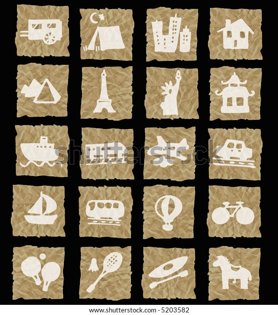 holidays icons on crumpled paper