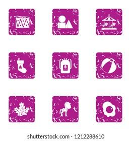 Holidays for juvenile icons set. Grunge set of 9 holidays for juvenile icons for web isolated on white background