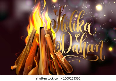 Holika Dahan greeting card design with a realistic fire in the night lights, raster version illustration