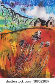 Holland countryside by collage from color paper , acrylic pen,  oil pastel  and ink