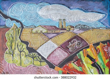 Holland countryside by collage from color paper , oil pastel  and ink