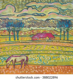 Holland countryside by color pencils , tempera  and ink
