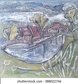 Holland seasonal painting by ink, watercolor, tempera