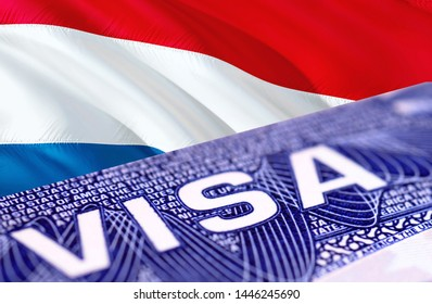 Holland visa document close up, 3D rendering. Passport visa on Holland flag. Holland visitor visa in passport. Holland multi entrance visa in passport. Close up of a document and passport