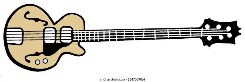 Hollow Electric Guitar Illustration Icon