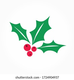 Holly berry raster icon. Merry Christmas symbol illustration isolated on white. Flat red mistletoe berries with green leaves.