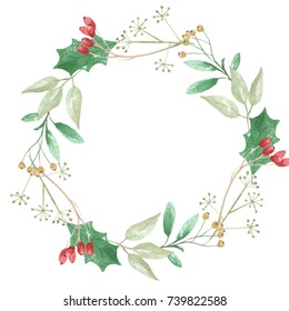 Holly Festive Watercolor Leaves Berries Wreath