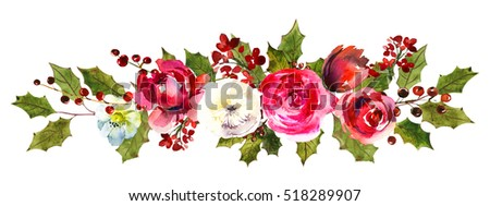 holly steams border red white flowers stock illustration 518289907