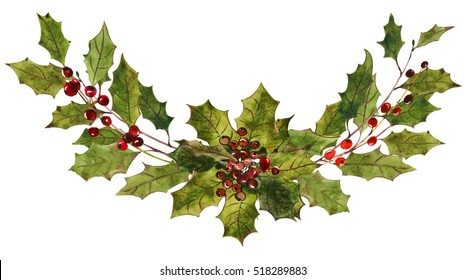 Holly steams bouquet red berries leaves Christmas watercolor drawing isolated on white background.
