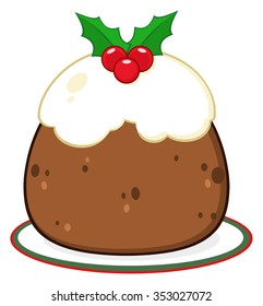Holly Topped Christmas Pudding On A Plate. Raster Illustration Isolated On White