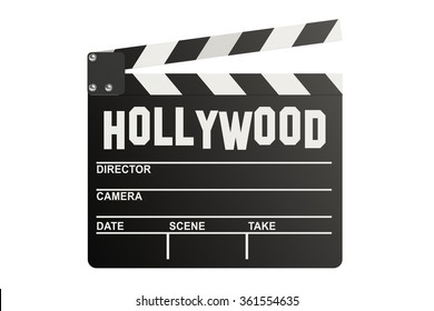 Hollywood Clapper board isolated on white background