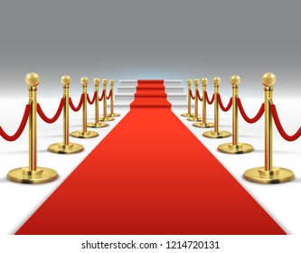 Hollywood luxury and elegant red carpet with stairs in perspective illustration