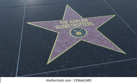 Hollywood Walk of Fame star with THE HARLEM GLOBETROTTERS inscription. Editorial 3D rendering