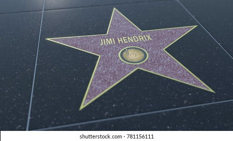 Hollywood Walk of Fame star with JIMI HENDRIX inscription. Editorial 3D rendering