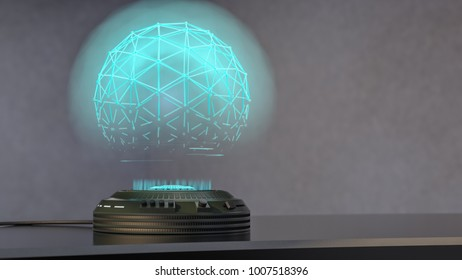 a holo projector projects a shimmering blue sphere(3d rendering)