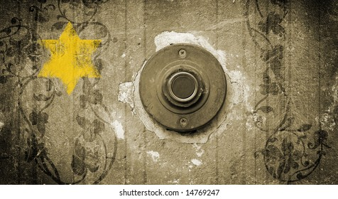 Holocaust sign. Old doorbell and yellow star of David