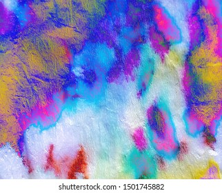 Hologram Abstract Liquid Mix. Haze Rainbow Aquarel Splash. Ombre Watercolor Paper. Rainbow Dip Tie Dye Texture. Psychedelic Rainbow Multi Gradients Canvas. Dirt Splatter Aquarel.