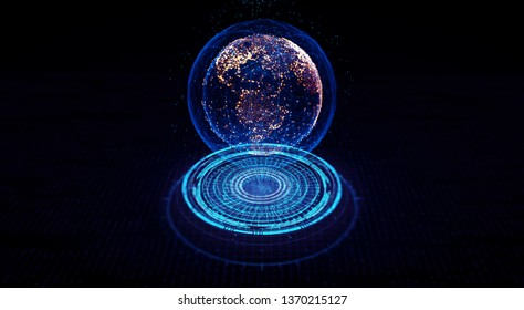 Hologram Connection lines Around Earth Globe, Block chain network concept. Futuristic Technology Theme Background with Light Effect. 3D Rendering