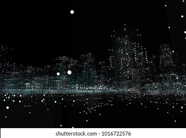 Hologram futuristic interface city. 3d illustration on black background