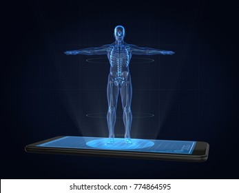 Hologram Human anatomy and skeleton on smartphone,Medical Technology concept .3D rendering