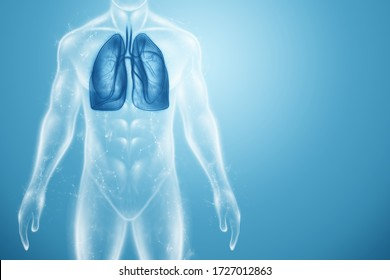 Hologram lung health care of the future. Modern medical science in the future. 3D illustration, 3D rendering
