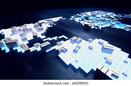 Holograph image of world map with package boxes. Worldwide delivery service concept.