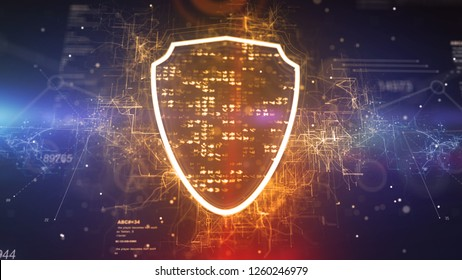 Holographic 3d illustration of a plazma cyberspace shield cpu with bright pixels around in the dark blue background. It represents a grid of crisscross, curvy and and straight lines.