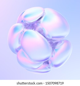 Holographic abstract fluid bubbles. Iridescent shapes on holographic background. Liquid shapes. 3d rendering.