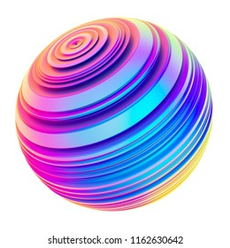 Holographic abstract twisted shape ribbed sphere. Bright colored design element. Isolated on white background 3D render.