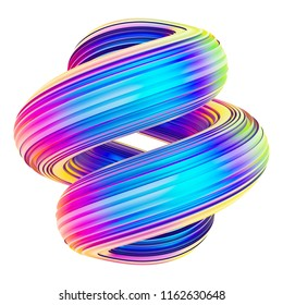 Holographic abstract twisted shape waves for trendy design. 3D brush stroke. Design element. Isolated on white background. 3D rendering.