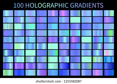 Holographic blue gradient colorful background. Hologram foil texture gradient template. Swatch set.  Holograph gradient illustration gradation for backgrounds, banner user interface
