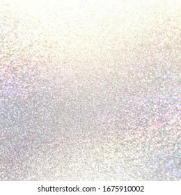 Holographic brilliance shimmer white textured background. Pastel glitter material surface. Delicate glitz festive decor.