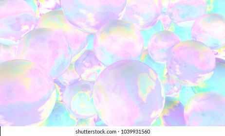 Holographic bubbles. 3d illustration. Abstract background. Fairy wallpaper. Cosmic. Planets. Pink. Blue. Fantasy. Girly. Unicorn colors.