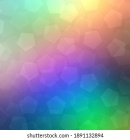 Holographic colorful holidays background. Transparent bokeh pentagonal pattern. Rainbow gradient blur. Fantasy abstract graphic.
