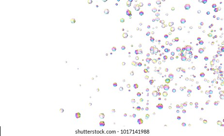 Holographic gems background. 3d illustration. Rhinestones abstract wallpaper. Rainbow multicolor pyramids. Crystals. Diamonds. Jewelry. Fashion. Simple geometric shapes backdrop.