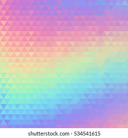 Holographic geometric background. 80s and 90s fashion design. Hologram vibrant style, trend art poster. Holography futuristic template. Shiny effect for vibrant banner