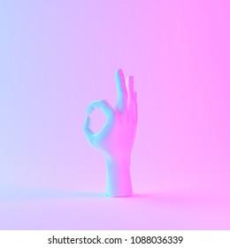 Holographic hand sculpture, Minimal holographic art, 3d illustration.