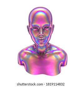 Holographic human bust, robotic head made of glossy iridescent material. 3D render illustration, concept of Artificial intelligence and Futuristic technologies.