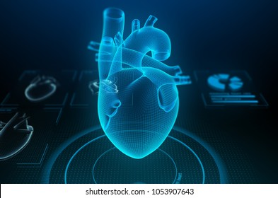 Holographic human heart in virtual reality. Futuristic diagnostic in medicine. 3d illustration.