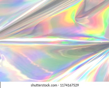 Holographic and iridescent gradient color wrinkled foil background texture.