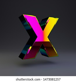 Holographic letter X uppercase isolated on black. 3D rendered multichrome glossy alphabet type for poster, banner, advertisement, decoration.