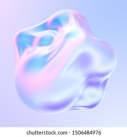 Holographic liquid metal 3D shape. dynamic fluid bubbles covered by holographic foil. Trendy design element. 3d rendering.