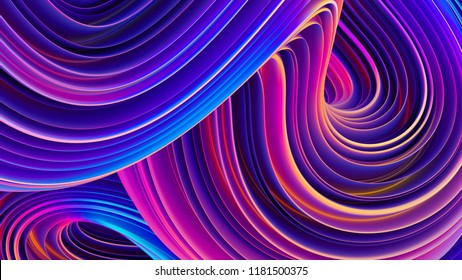 Holographic liquid shapes. Abstract background. Fluid flow twisted shapes in motion. Bright ultra violet colors. Trendy composition for festive posters design. 3D rendering.