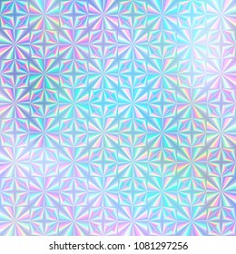 Holographic paper. Hologram sticker texture. Multicolor background. Geometric texture. Trendy backdrop. 80s. 90s. Certificate label. Quality emblem background.