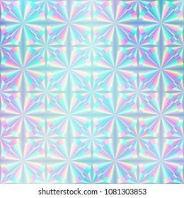 Holographic paper. Hologram sticker texture. Authenticity. Foil. Hologram sticker. Multicolor background. Geometric texture. Trendy backdrop. 80s. 90s. Certificate label. Quality emblem background.